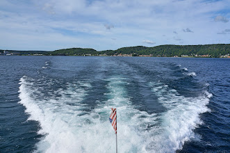 Photo: A look back at Munising. A National Park Service authorized concessioner operates a non-stop boat tour of the Pictured Rocks cliffs. The cruises leave from Munising (late May to mid October) for a water view of the Pictured Rocks.