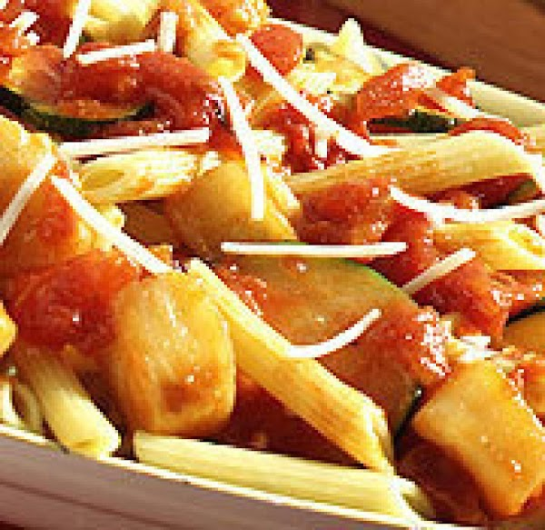 Penne Pasta With Roasted Garlic Sauce And Veggies Recipe