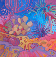 "Photo: ""Garden Spirit"", acrylic on canvas 12"" x 12"", © Nancy Roberts"