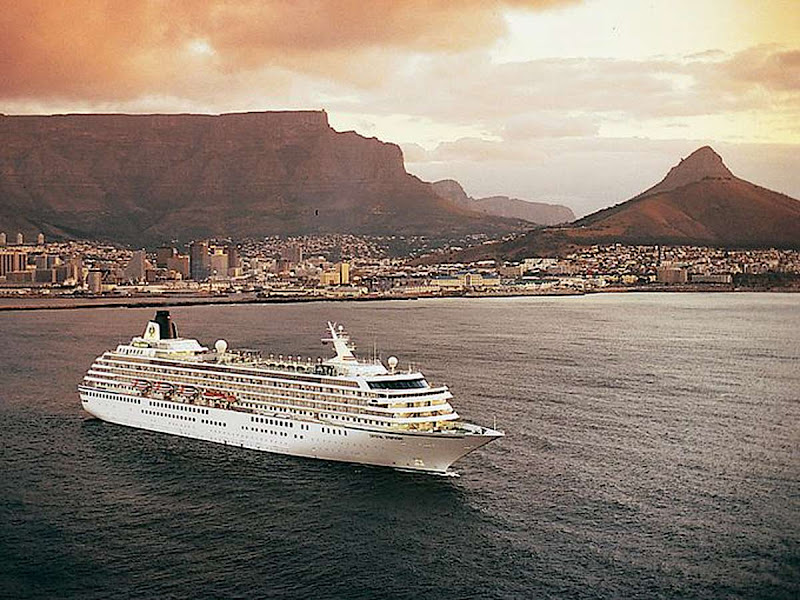 Crystal Symphony sails off the coast of Cape Town.