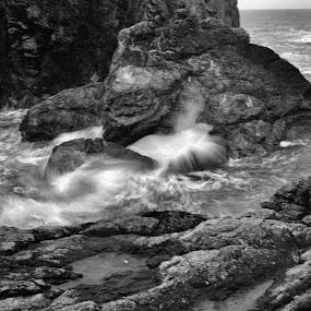 Cornish cove by Tony Pitt - Landscapes Waterscapes ( spray, waves, sea, rocks, cornwall )
