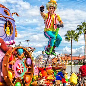 Cloud Bounce by Bill Tiepelman - City,  Street & Park  Amusement Parks ( clouds, blue sky, universal studios, bounce, jump, character, pogo stick,  )
