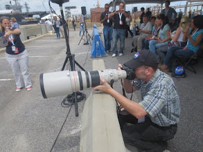Photo: Setting up at the piers to watch the space craft test! Some people take their photography more seriously than others ;)