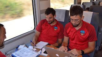 Jorge Garcés con Molo, entrenador del Lleida.