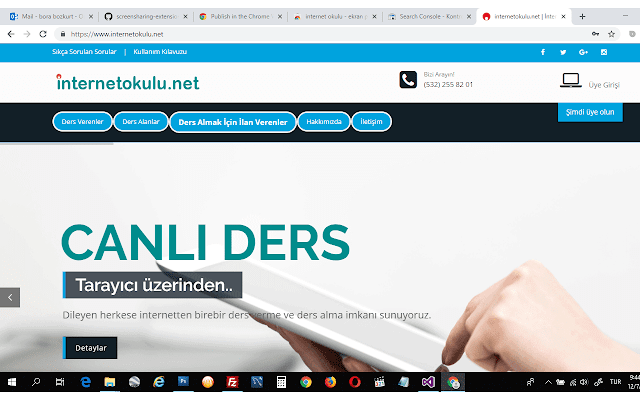 internet okulu - ekran paylaşımı