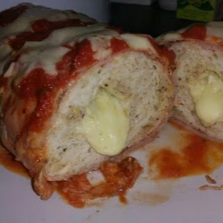 Bacon Wrapped Chicken Parmi Loaf.