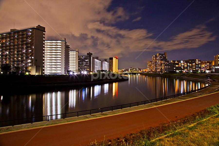 Sumidagawa City by Nyoman Sundra - City,  Street & Park  Historic Districts ( japan, beautiful, tokyo, sumidagawa, river, city )
