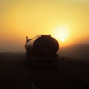 Fog on Saskatchewan by Daniel Gaudin - Landscapes Sunsets & Sunrises ( mountains, fog, sunset, sunrise, sun,  )