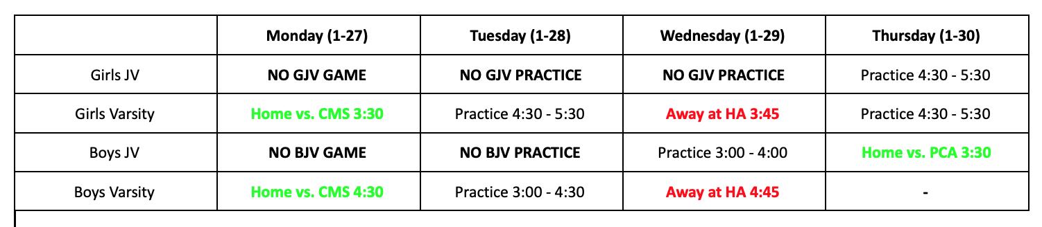 Athletics Schedule