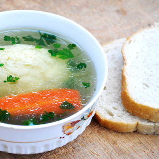 Clear Veggie Soup with Semolina Dumplings