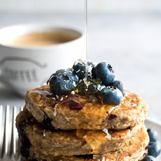 Vegan Blueberry Oat Hotcakes.