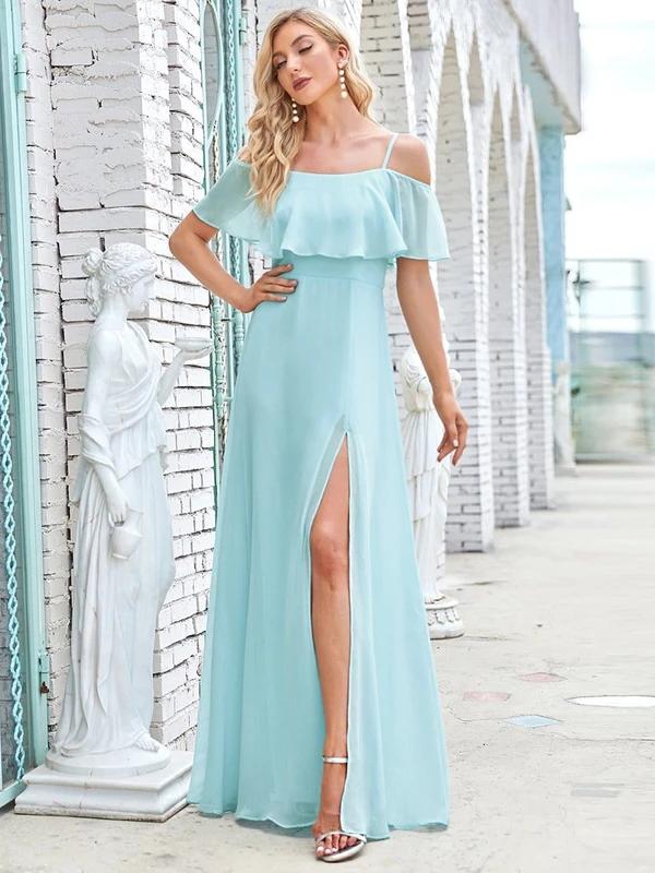 Flattering-Chiffon-Spaghetti-Straps-Lotus-Leaf-Sleeveless-Bridesmaid-Dress