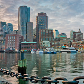 Chains Lead The Way by Brad Kalpin - Landscapes Travel ( water, boston, sunset, travel, city )