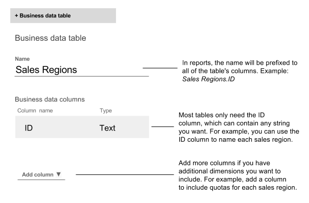 Example of creating a table