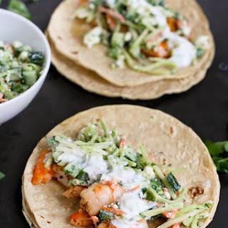 Greek Shrimp Tacos Recipe with Feta Broccoli Slaw