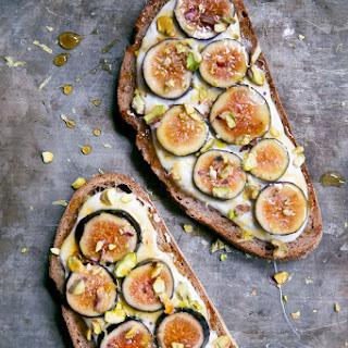 Honey-Lemon Ricotta Breakfast Toast with Figs + Pistachios