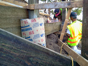 Photo: San Francisco Department of Public Works carpenters Francisco (left) and David (right)   constructing second of three terraced erosion-control barriers, on October 2, 2013, in the last area of the Hidden Garden Steps site (16th Avenue, between Kirkham and Lawton streets in San Francisco's Inner Sunset District) in need of attention before the Hidden Garden Steps 148-step ceramic-tile mosaic designed and created by artists Aileen Barr and Colette Crutcher is installed. For more information about this volunteer-driven community-based project supported by the San Francisco Parks Alliance, the San Francisco Department of Public Works Street Parks Program, and hundreds of individual donors, please visit our website at http://hiddengardensteps.org.