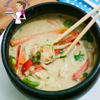 Thai Prawn Noodle Soup With Coconut Milk.