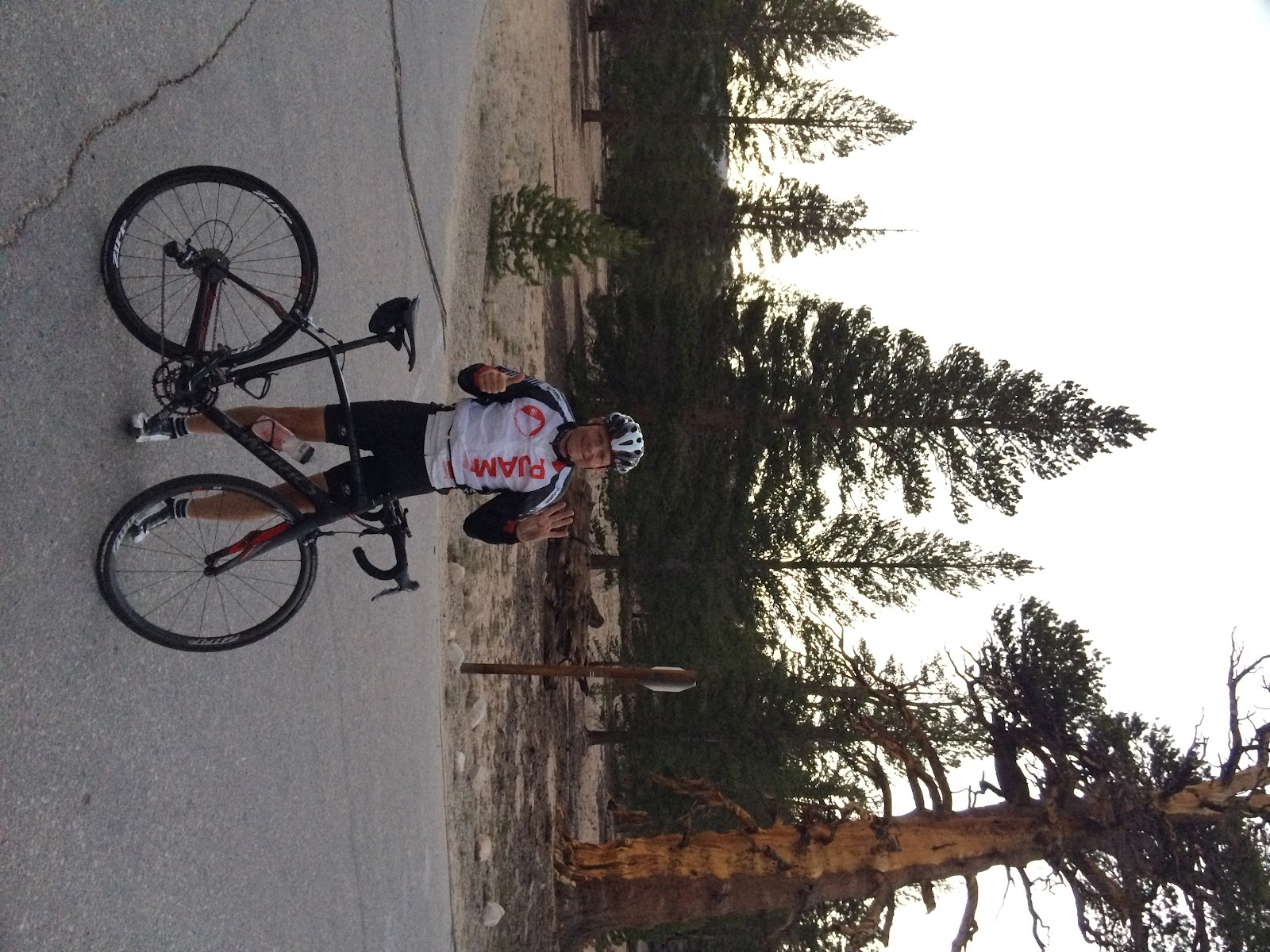 Bike challenge 4 Owens Valley HC's in 1 day - John Johnson PJAMM Cycling Horseshoe Meadow - cyclist with bike