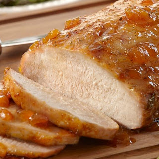 Herb Pork Roast with Ginger Peach Glaze