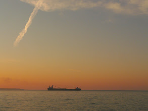 Photo: freighter from McKay Island Lighthouse