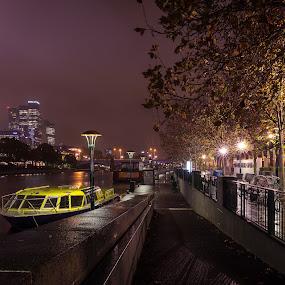 Yarra River, Melbourne, Australia by Linda Brown - City,  Street & Park  Night