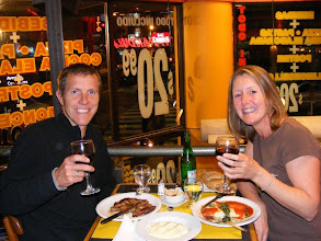 Photo: Eating out Argentina style...STEAK and RED WINE!