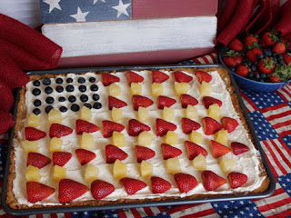 Patriotic Fruit Pizza With Pecan Shortbread Crust Recipe