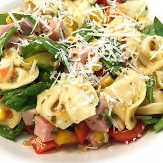 Fresh Garden Tortellini Salad with Ham.