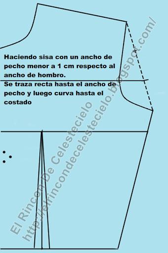 Trazando sisa con ancho de pecho normal en corpiño delantero