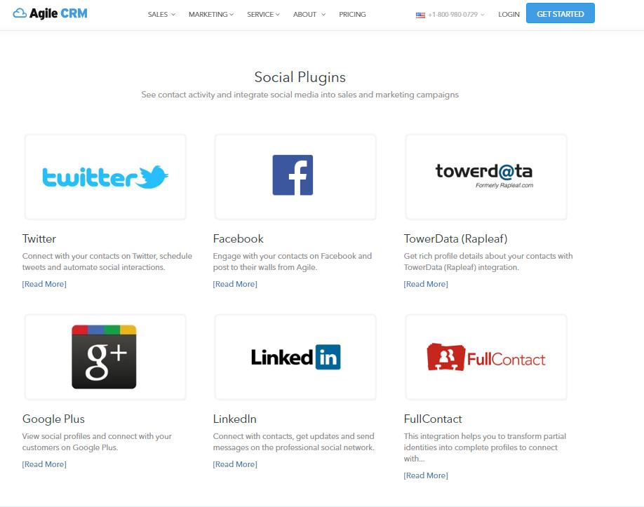 Примеры интеграции Agile CRM в социальных сетях