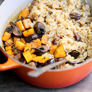 Chestnut, Mushroom and Butternut Squash Baked Risotto.