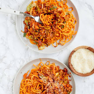 Sweet Potato Noodles with Brussels Sprouts and Lentil Ragu.