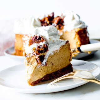 Pumpkin Spice Cheesecake with Salted Caramel and Candied Pecans