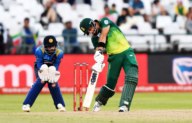 Aiden Markram of South Africa during the 5th Momentum ODI match against Sri Lanka at PPC Newlands on March 16, 2019 in Cape Town, South Africa.