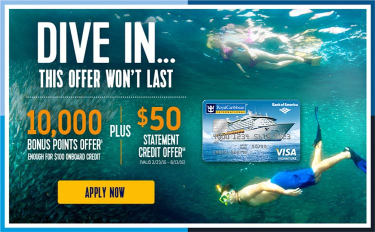 The Royal Caribbean Visa Signature dive-in card, one of the top credit card offerings from the cruise lines.