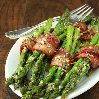Bacon Wrapped Asparagus with Garlic and Parsley.