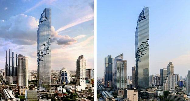 Mahanakhon Tower in Thailand, Bangkok - architectural renders the reality