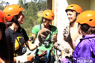 Photo: Getting prepped for ziplining.