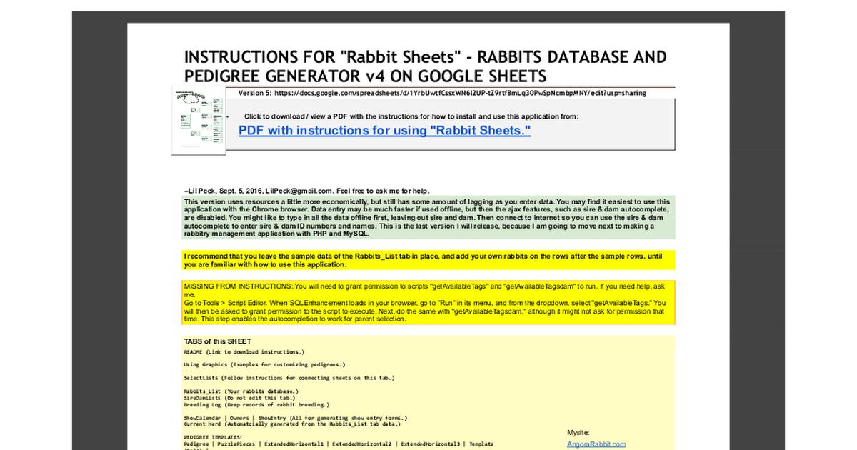 Rabbit Sheets - Rabbits Database and Pedigree Generator v4 - Google ...