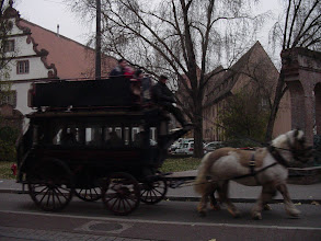 Photo: An old horse-drawn carriage makes its way through the late afternoon streets.