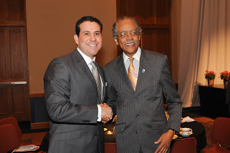 "Photo: ""Sharing the Dream"" 2011 Award Winner Robert Rivera with keynote speaker."