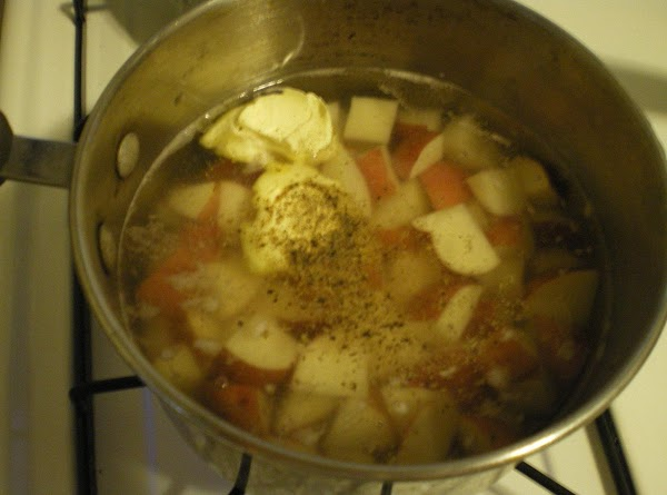 In a saucepan add potatoes and just barely enough water to cover them. ...