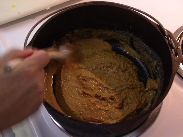 In cast iron skillet, put in 3 cups of flour and 2 cups of...