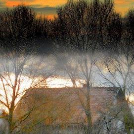 Village in fog by Nat Bolfan-Stosic - Uncategorized All Uncategorized ( cold, village, autumn, fog, morning )