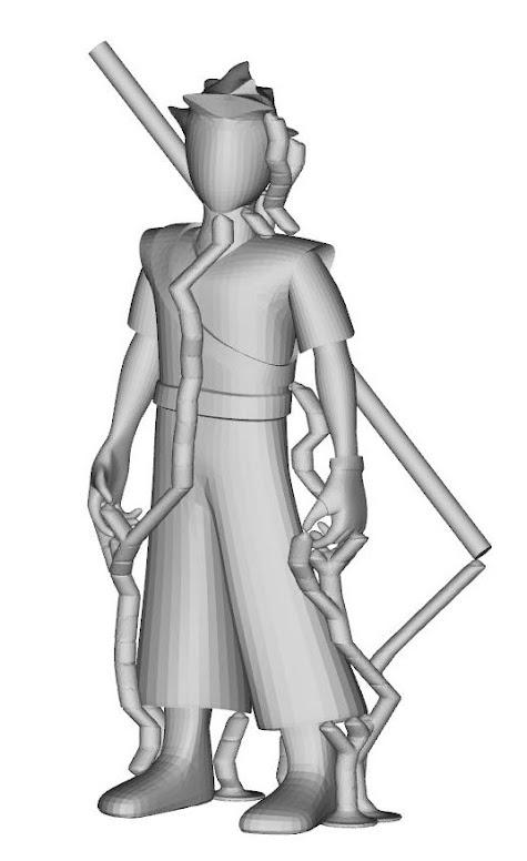 La figurine avec le support calculé par Meshmixer
