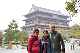 Photo: Together with our host Cathy in front of the Drum Tower