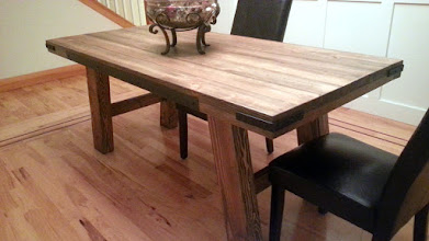 """Photo: Greyburn Dining Table 72""""L x 35""""W x 30""""H Color: Greyburn Stain Finish: Dull Rubbed Hardware: Corner Brackets, Recessed Plain Steel Investment: 1400"""
