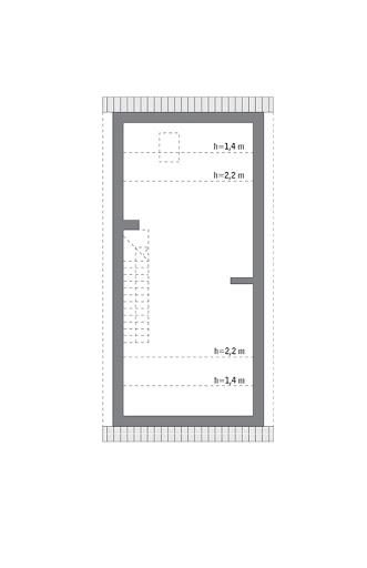 Światła miasta - wariant IV - M225d - Rzut poddasza do indywidualnej adaptacji (41,2 m2 powierzchni użytkowej)