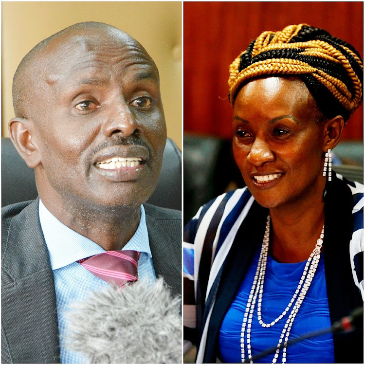 Knut secretary general Wilson Sossion and TSC CEO Nancy Macharia